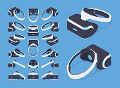 Set of the isometric virtual reality headsets. The objects are isolated against the blue background and shown from different sides poster