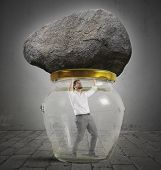 Man trapped in a jar with rock poster