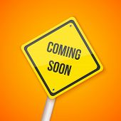 Illustration of Photorealistic Vector Website Coming Soon Road Sign. Website Under Construction Background Template poster