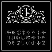 Stylish  graceful monogram , Elegant line art logo design in Victorian Style and Set  template letters to create monograms of two letters poster