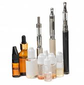 Various modern electronic cigarette vaporizers. Isolated on a white background. poster