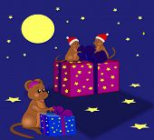 Three little mice that packs out Christmas gifts. poster