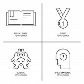 Line style vector icons introducing different psychology theories including sport clinical educational psychology.Mental health autism mental problems symbols.. poster