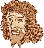 Etching engraving handmade style illustration of Jesus Christ face with crown of thorns set on isolated white background. poster