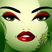 Facial emotions of young pretty woman with a modern haircut. Coquette lady visage, expressive human eyes, lips and locks. poster