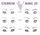 Vector hand drawn illustration of eyebrow line make up. Eyebrow style. Vector fashion sketch of girl face. Stylish make up. poster