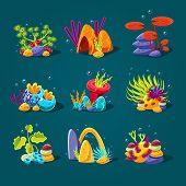 Set of cartoon algae, elements for aquarium decoration. Vector illustration poster