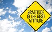 Gratitude Is The Best Attitude sign with sky background poster