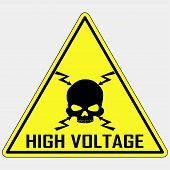 Danger High Voltage Sign, Danger Electrical Hazard,   yellow triangle sign of death - vector illustration poster