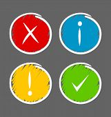 Simple hand drawn notification icons suitable for custom web design and computer purposes poster