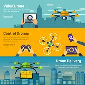 Set of drone banners - shipping, surveillance, control. Drone horizontal banners set with delivery and control elements isolated vector illustration poster