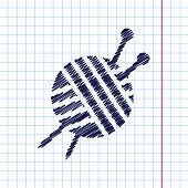 Vector hand drawn tailor ravel ball of yarn for knitting icon on copybook poster