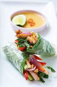 Mini asian canapes, fresh rice paper spring roll appetisers with grilled chicken and vegetables poster