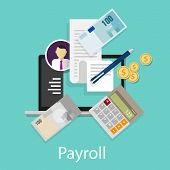 payroll salary accounting payment wages money calculator icon symbol vector poster