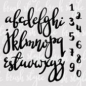 Handwritten brush pen modern calligraphy font. Stylish letters and figures hand made with brush. Calligraphy alphabet. Isolated letters. For postcard poster decorative graphic design. poster