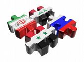 Puzzle - Anti-terrorist coalition in Syria isolated over white. Flags of Russia Syria Iraq Iran poster