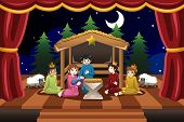A vector illustration of kids playing in Christmas drama poster