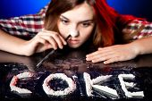 Woman snorting cocaine or amphetamines symbol of coke addiction poster