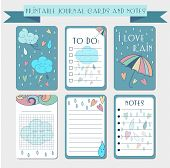 Printable journal cards labels with autmun illustrations. Template for scrap booking and wrapping. Vector set of cute notes with colorful rain drops. Create your own diary design. poster