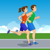 Illustration of a runners - couple running health conscious concept. Sporty woman and man jogging poster