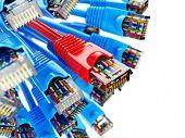 LAN network connection Ethernet RJ45 cables. Choise of provider concept. 3d poster
