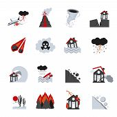 Different types of natural disasters flat icons set performed in black white and red colors isolated vector illustration poster