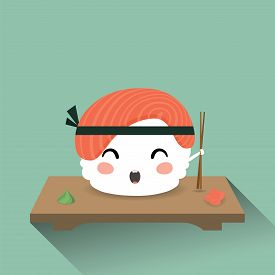 Cute cartoon sushi