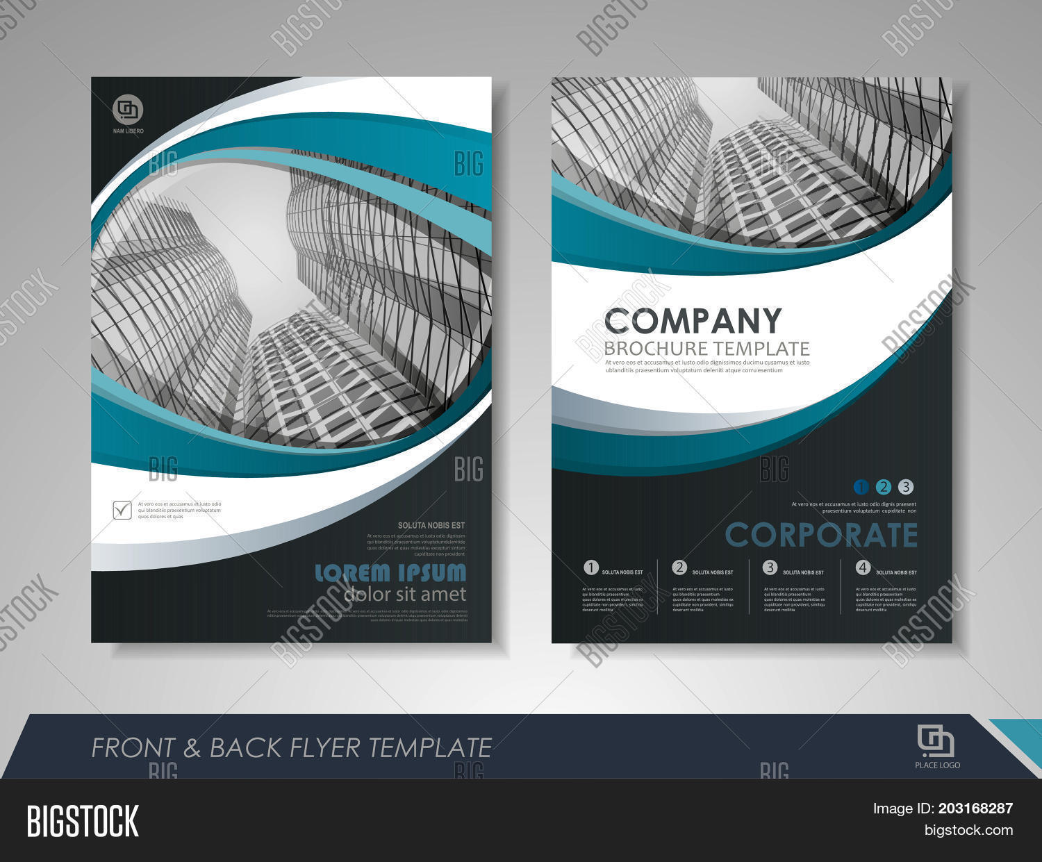 graphic design brochure templates - modern blue brochure vector photo free trial bigstock