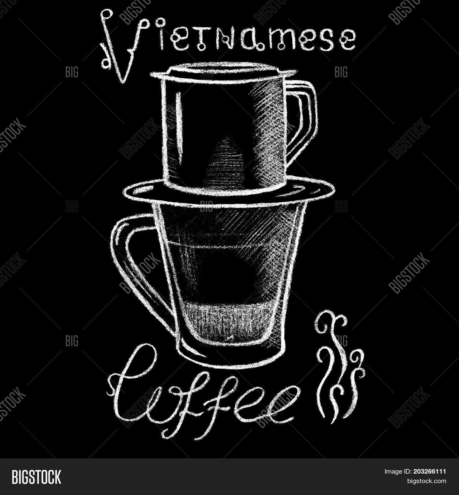 White Chalk Vietnamese Coffee Cup Drawing Vietnam Style Filtered Handdrawn Illustration Glass