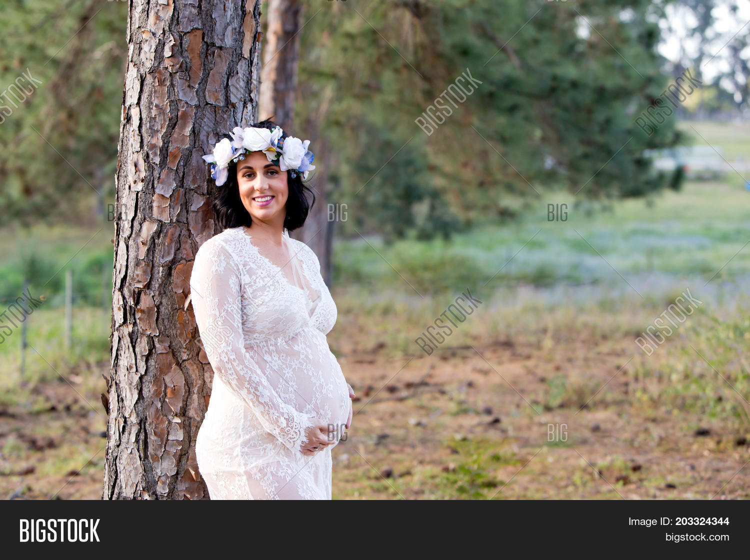 ada3c3982426e Beautiful pregnant woman in sheer white lace maternity gown outdoors  leaning against large pine tree trunk in field with copy space