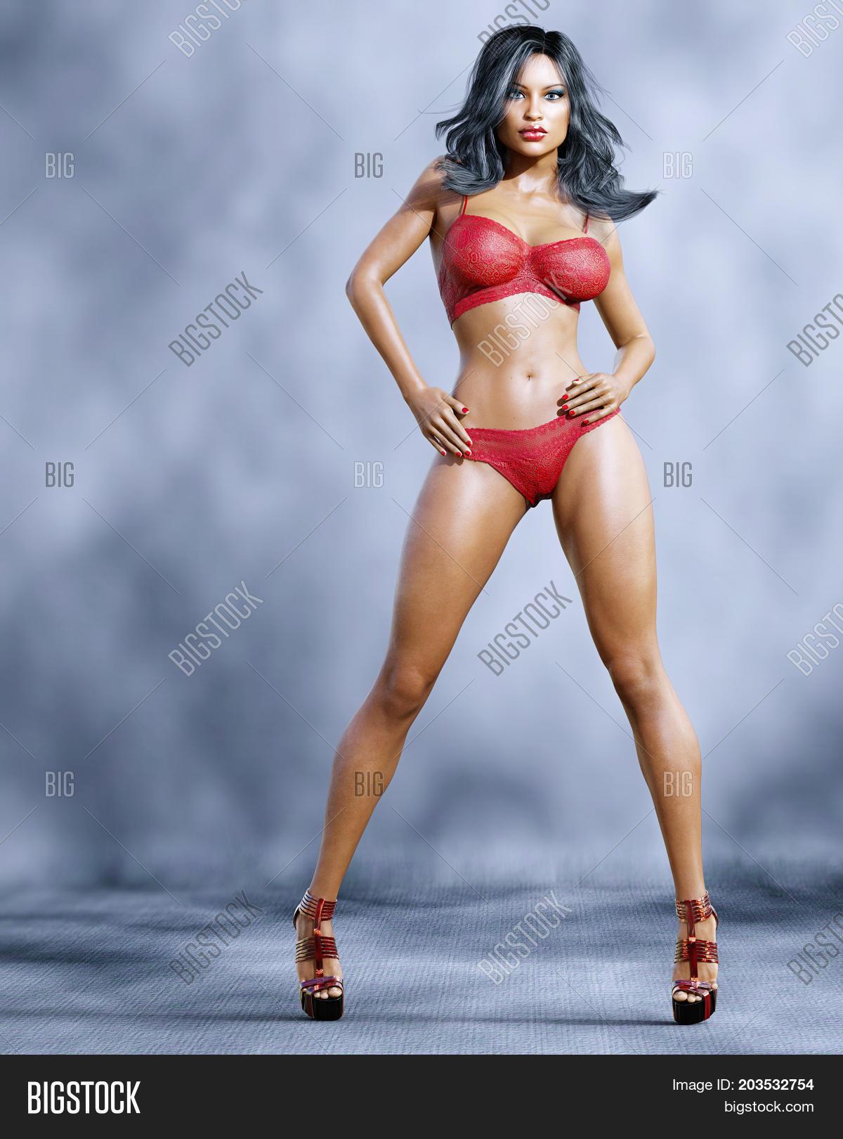 3e300dd2f6da7 Tall sexy woman in lingerie. Bra and panties. Conceptual fashion art. Blue  eyes