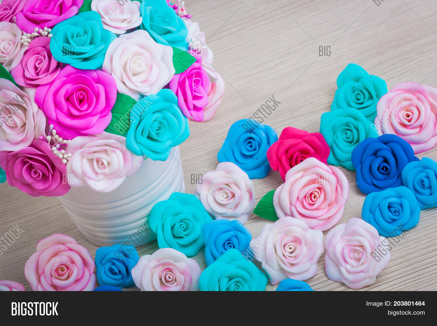 Flowers roses foam image photo free trial bigstock flowers roses from foam pink red blue white blue flowers in a white pot next are mightylinksfo
