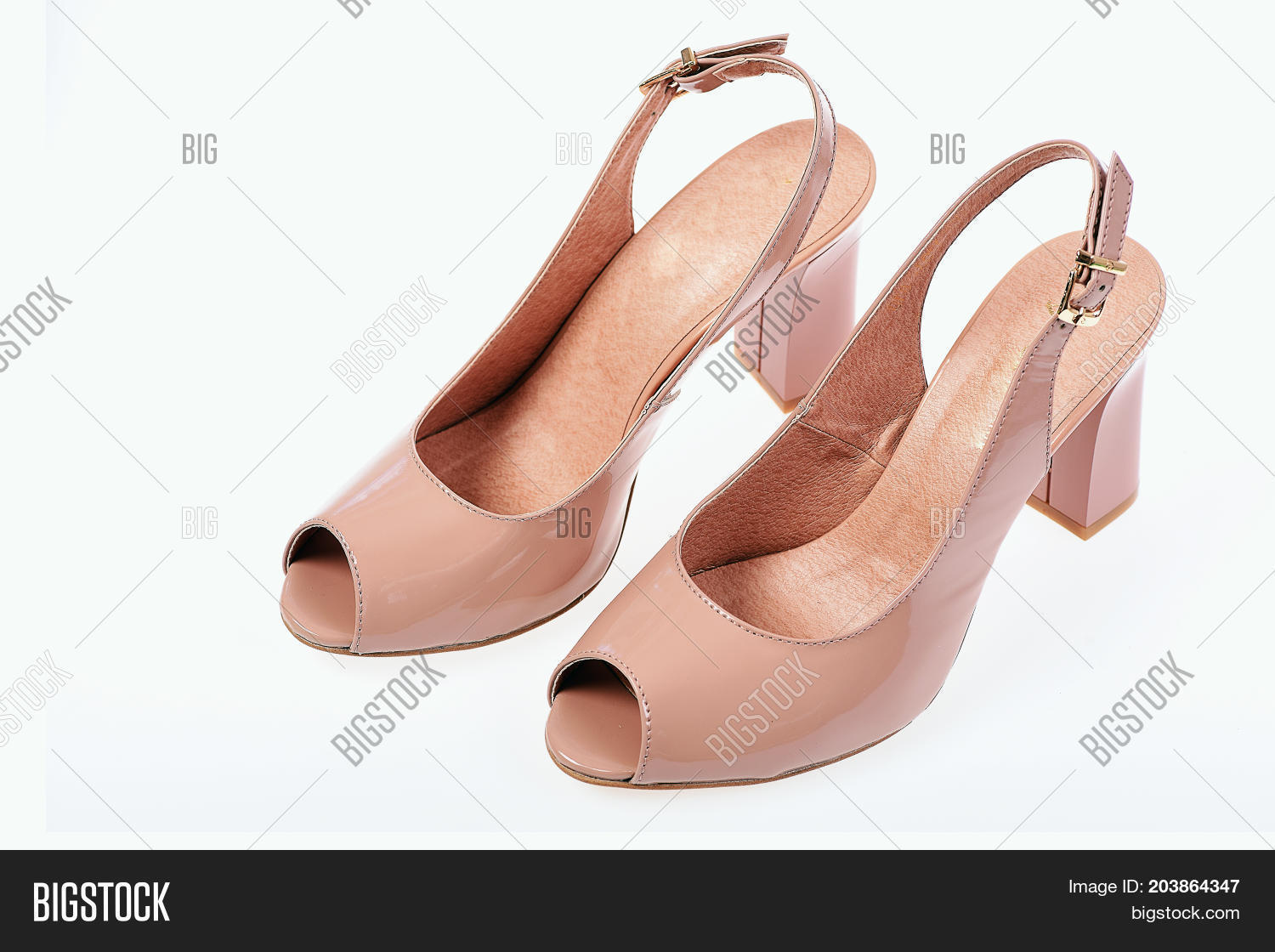 eb2190f6b Womens patent leather shoes top view. Summer accessories  high heel sandals.  Fashion and beauty concept. Female sandals isolated on white background.