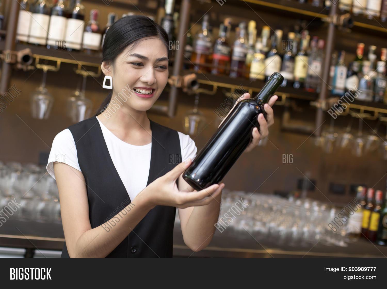 Asian milf waiter