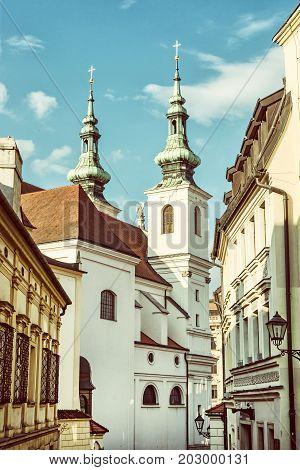 St. Michael church in Brno Moravia Czech republic. Religious architecture. Vertical composition. Beauty photo filter.