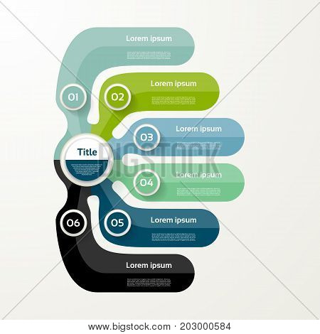 Six elements banner. 6 steps design chart infographic step by step number option layout.