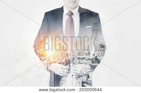 Asia business concept - thoughtful modern office man with dark suit stand and think the business plan. Double exposure effect with Japan city skyline background. Mix hand drawn sketch illustration