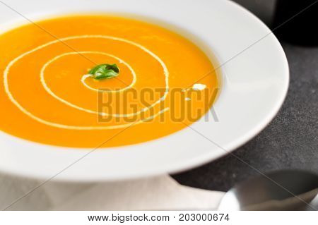 Pumpkin soup with cream swirl. Squash soup is traditionally eaten during the fall season. Pumpkin or butternut squash are blended with other vegetables into a puree to make this delicious vegan dish.
