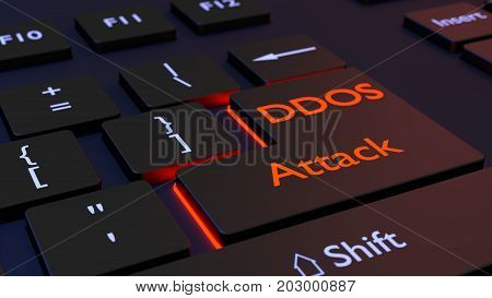 Black computer keyboard with the words DDOS attack on the enter key distributed denial of service concept 3D illustration
