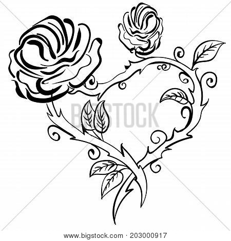 Valentine heart roses forest berries. Vector Hand drawn artwork sketch tattoo heart rose frame. Love bohemia concept for wedding invitation