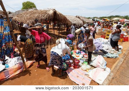 Malagasy Peoples On Big Colorful Rural Madagascar Marketplace