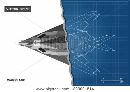 Outline drawing of plane on a blue background. Industrial blueprint of military airplane. Top view. Stealth warplane. Vector illustration