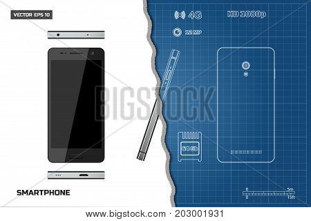 Drawing of outline smartphone. Industrial blueprint. Phone views: side, front, back. Touch telephone with the camera. Vector illustration