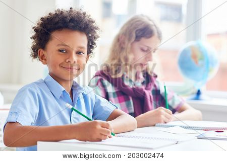 Smiling schoolboy with pencil writing essay or preparing homework