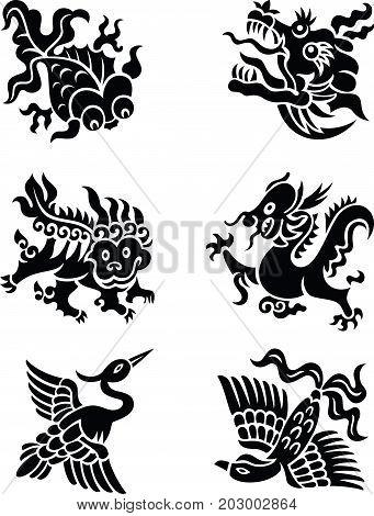 chinese decorative animals, black and white style