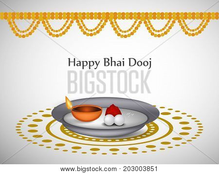 illustration of decoration, plate and lamp with happy Bhai Dooj text on the occasion of Hindu festival Bhai Dooj celebrated in India