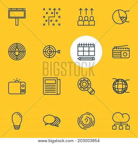 Editable Pack Of Aiming, Network, Goal And Other Elements.  Vector Illustration Of 16 Advertising Icons.