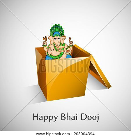 illustration of hindu god ganesh with happy Bhai Dooj text on the occasion of Hindu festival Bhai Dooj celebrated in India