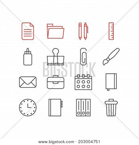 Editable Pack Of Pencil, Copybook, Binder Clip And Other Elements.  Vector Illustration Of 16 Instruments Icons.