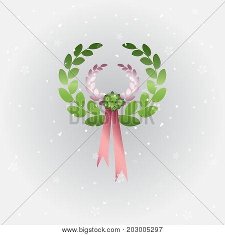 Created laurel wreath on grey background stock vector